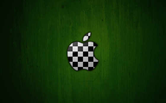 apple chessboard on green background