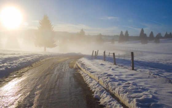 зима, рассвет