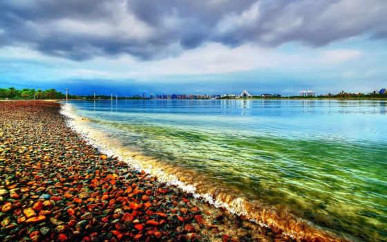 красивые, пляж, пейзажи -