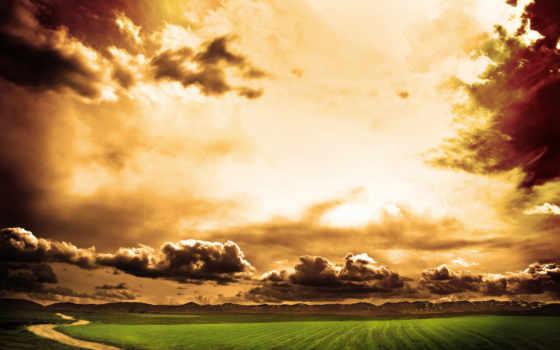 небо, золотое, луг, тучи, дорога, закат, природа,