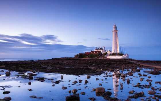 lighthouse, небо, browse, камни, побережье,