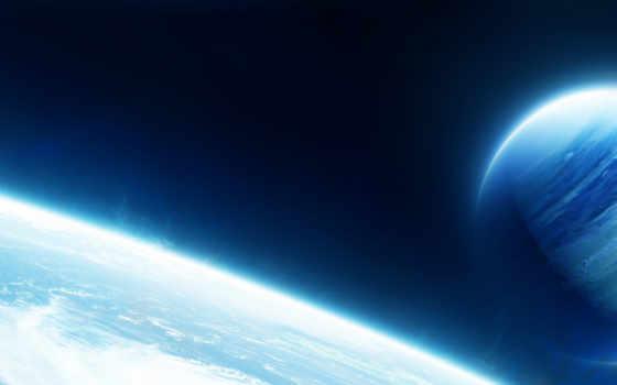 cosmos, planet, свечение, атмосфера, спутник,