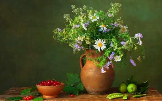 натюрморт, яблоки, букет, кувшин, cvety, розы, ягоды, цветами, картинка,