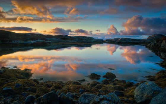 норвегии, norwegian, озеро, солнца, небо, берег, landscape, природа, закат, rising,