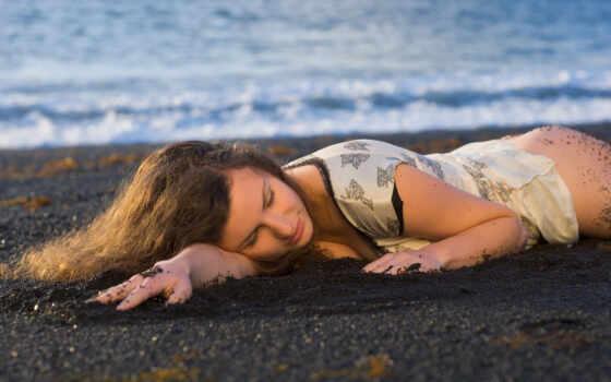 пляж, девушка