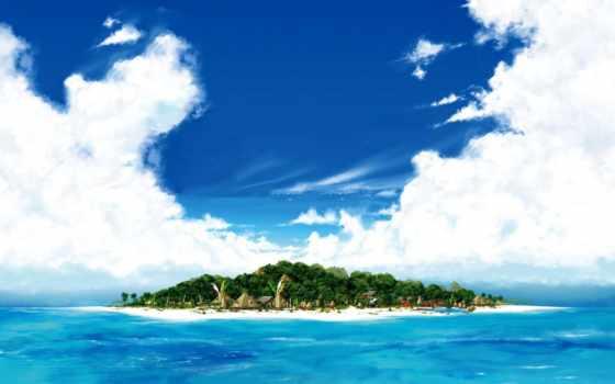 море, пляж, остров