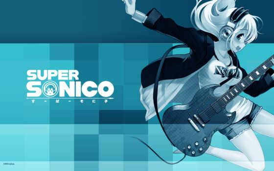 anime, девушка, гитарой