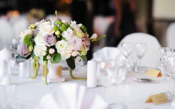 mariage, fleurs, столик