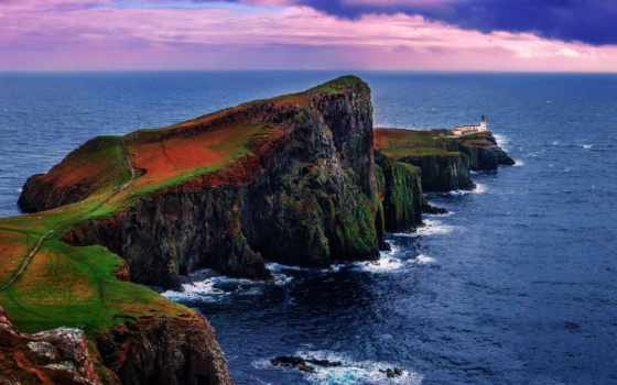 neist, шотландия, point, skye, остров, hebrides, lighthouse, inner, архипелаг,