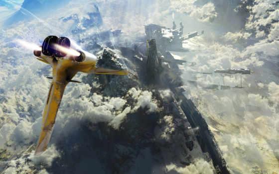 будущее, корабль, горы, рисунки,