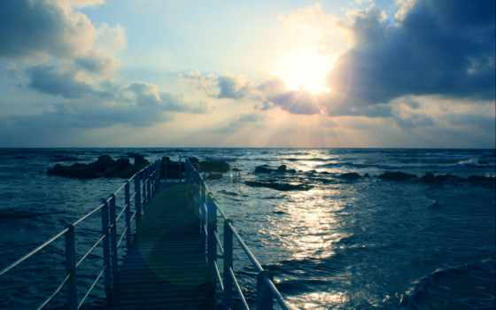 небо, море, oblaka, landscape, waves, sun, камни, природа, pier,