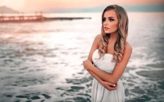 девушка, платье, стоит, море, фотограф, красивые, красивая, devushki, белом, уже,