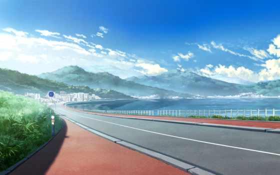 дорога, anime, summer, фоны, разных, заставки, город, landscape, kajitsu, разрешениях,