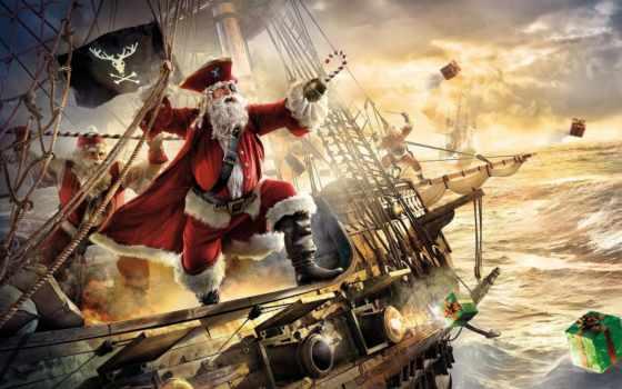 пиратский, пиратский, корабль, флаг, санта, клаус, фрегат