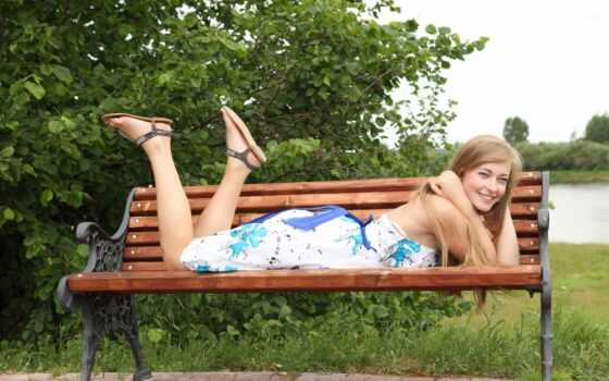 park, скамейка, девушка, uma, платье, craft, build, outdoor, sunlight, surpresa, blonde