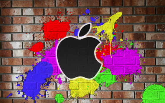 apple, color, painted, wall, mac, красках,