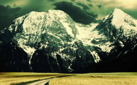 дорога, горы, небо