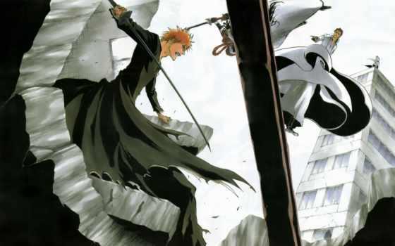 anime, джин, блич, ичиго, captain, айзен, битва, тоусен,