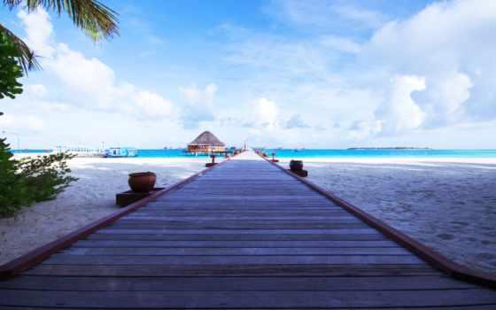 пляж, дорога, небо, бунгало, ocean, лодка, океану,