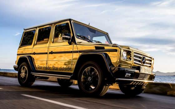 mercedes, gold, gelandewagen