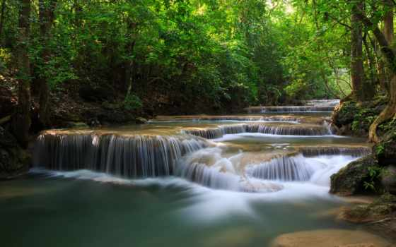 природа, красиво, than, большим, река, jungle, каскады, экрана, страница, summer,