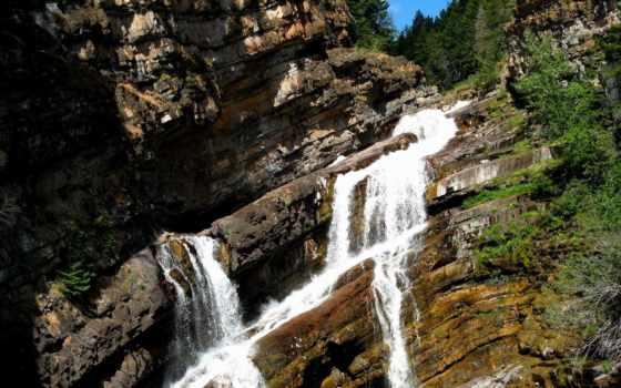 falls, скалы, cameron, водопад, glacier, природа, парки, landscape, река, park, горы,