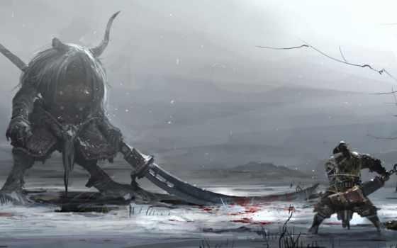art, битва, оружие, кровь, воин, снег, рога, monster, winter,