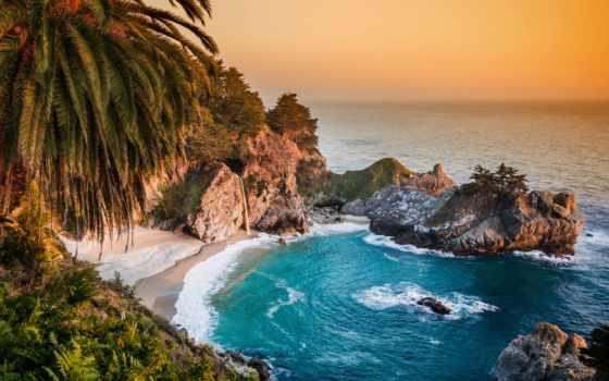 пейзажи -, ocean, море, природа, категории, сша, биг, скалы, пальмы,