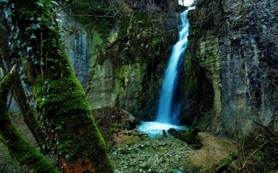 водопад, природа, скалы,