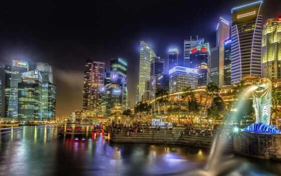 город, singapore, плакат, ночь, огонь, park, мегаполис, merlion, фото, картинка, castle