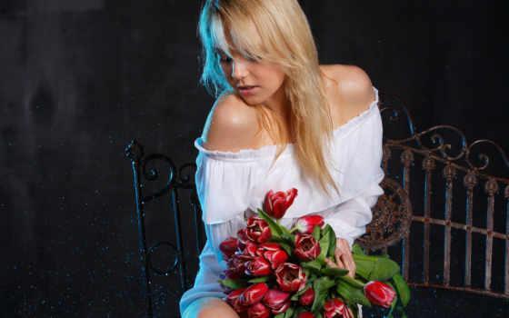 девушка, тюльпан, девушки