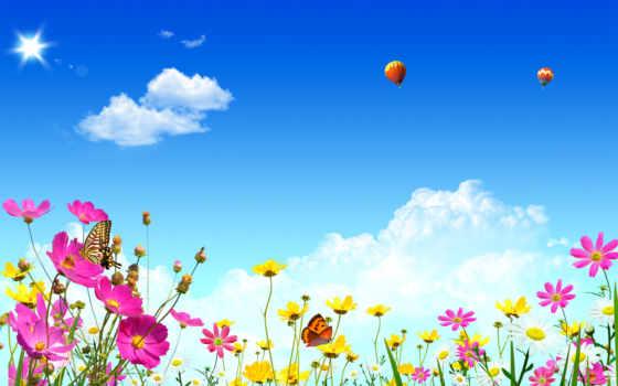 небо, шары, воздушные