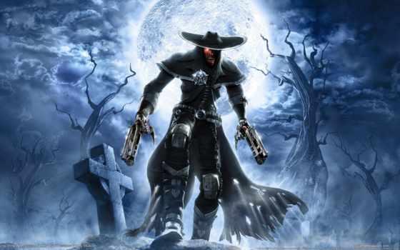 зомби, череп, луна, darkwatch, кладбище, fantasy, кросс, стволы, пушки, games, широкоформатные,
