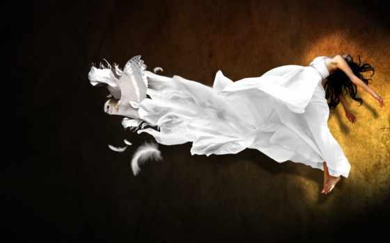 девушка, платье, воздухе, сова, парит, белом,