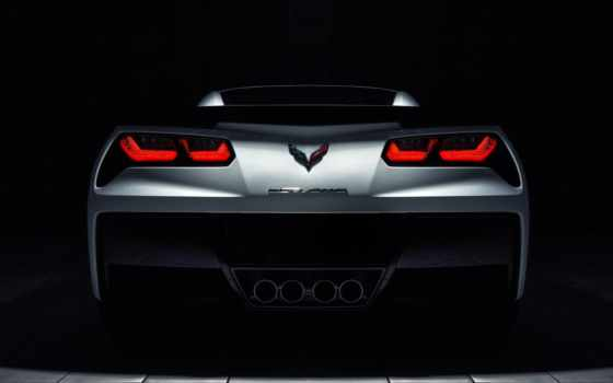 corvette, stingray, white, rear, теме, goodfon, roadster,