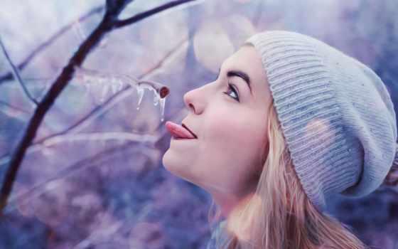winter, девушка, flickr, картинка, days, лед, язык,