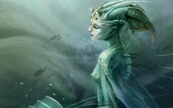 девушка, art, русалка, фэнтези, русалки, море, pisces, fantasy, spear, водой,