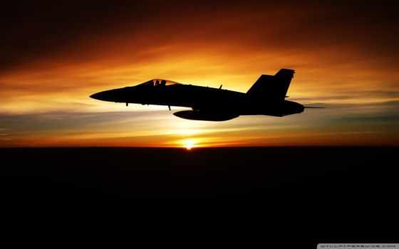 soleil, coucher, avion