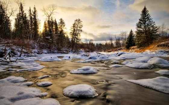 winter, ручей, снег, water, лед, деревья, лес,
