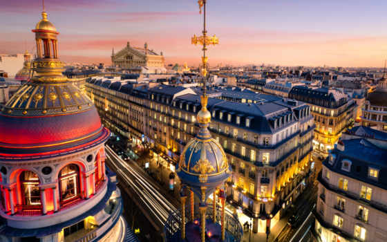 париж, город, франция, вечер, дома, frans, ile,