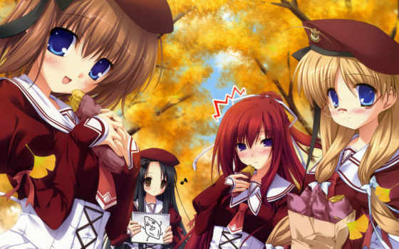 anime, осень, devushki