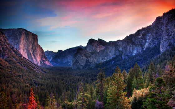 лес, taiga, гряда, ложбинка, горы, долина, вечер, rising,