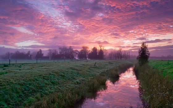 oblaka, розовые, канал, небо, утро, розовым, природа, поле, светом, заходящее, река,