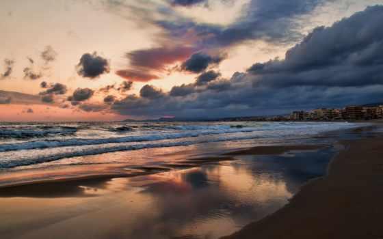 greek, остров, крит, закат, море, рисунки, oblaka,