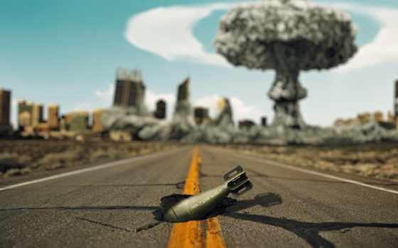bom, nucleaire, stockfoto, ван, achtergrond, explosie, город,