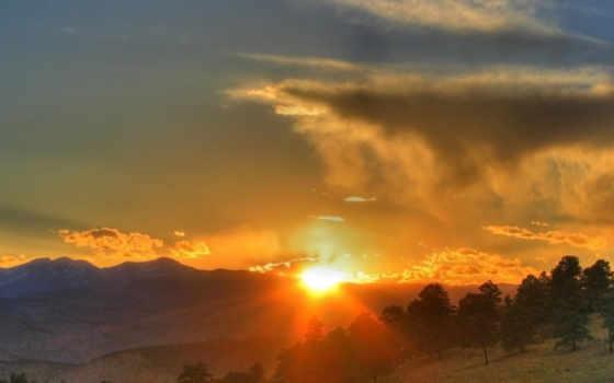 день, закат, гора, восход, категория, orchestra, символ, природа, лунно