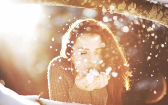 women, женщин, снежинки, snowflakes, картинка, снег, зима, девушка, солнечный, свет,