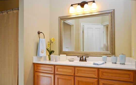 ванной, зеркало, комнате