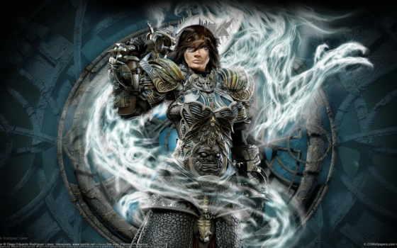 воин, девушка, дракон