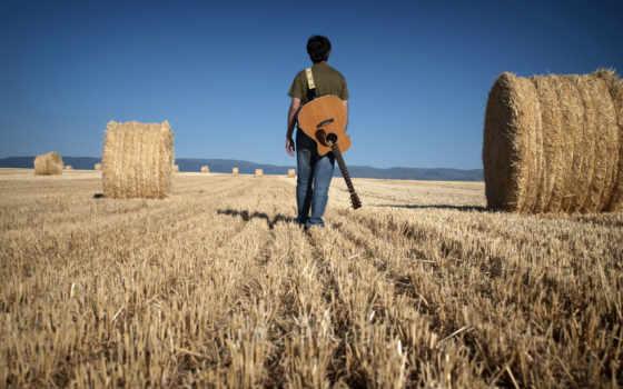 мужчина, музыка, гитара, дорога,